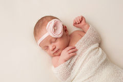 Bebê recém-nascido com luz - faixa cor-de-rosa da flor Foto de Stock Royalty Free