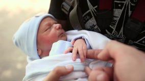 Bebê recém-nascido em seu close-up dos braços video estoque