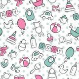 Bebê Recém-nascido Teste padrão sem emenda bonito no estilo da garatuja e dos desenhos animados Azul e cor-de-rosa ilustração royalty free