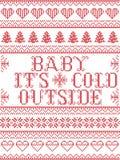 Bebê sem emenda seu estilo escandinavo da tela da parte externa fria, inspirado pelo Natal norueguês, teste padrão festivo do inv Foto de Stock