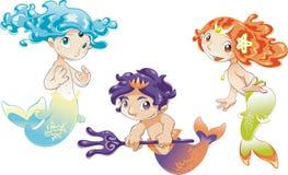 Bebê Triton das sirenes do bebê ilustração stock