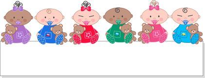 Bebês étnicos misturados Fotografia de Stock