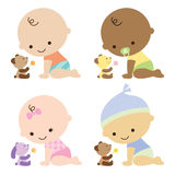 Bebês com ursos da peluche ilustração royalty free