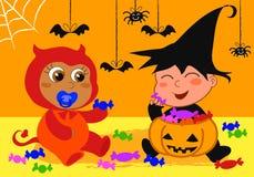 Bebês em Halloween Imagens de Stock Royalty Free
