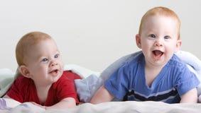 Bebês gêmeos bonitos Fotografia de Stock Royalty Free