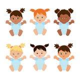 Bebês multi-étnicos ajustados Imagem de Stock
