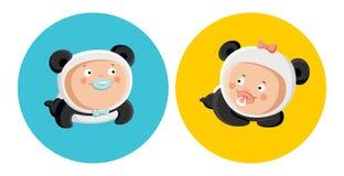 Bebês no traje da panda Fotos de Stock Royalty Free