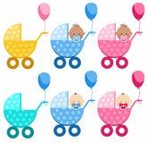 Bebês nos passeantes, diferentes, menino, menina, 3Sul da Ásia, África Imagem de Stock