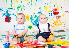 Bebês pintados Fotografia de Stock Royalty Free