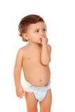 Bebê adorável com os olhos azuis que olham acima Foto de Stock Royalty Free