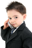 Bebé adorável no terno no telemóvel Fotos de Stock Royalty Free