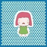 Bebê bonito do grito dos desenhos animados do cabelo do rosa dos doces Fotografia de Stock Royalty Free