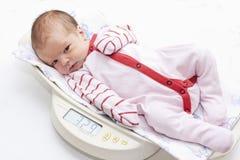 Bebê bonito nas escalas Fotos de Stock