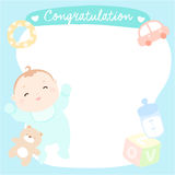 Bebê bonito no cartão vazio Foto de Stock Royalty Free