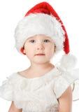Bebê bonito no chapéu do vermelho de Santa Imagens de Stock Royalty Free