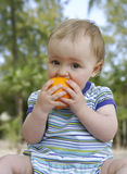 Bebê com laranja Fotos de Stock Royalty Free