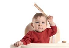 Bebé con el cepillo para el pelo Fotografía de archivo libre de regalías
