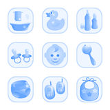 Bebê-Ícones no azul. Imagem de Stock