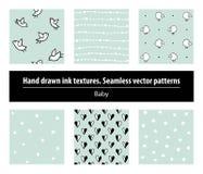 Beb? Conjunto de modelos incons?tiles Texturas de la tinta de dibujo de la mano ilustración del vector