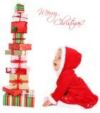 Bebé de la Navidad con los regalos Fotos de archivo libres de regalías