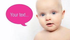 Bebé del añil con el baloon de las palabras Fotos de archivo libres de regalías