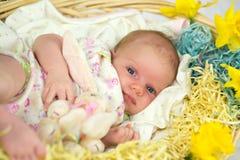 Bebé dentro de la cesta con las flores de la primavera. Imagen de archivo
