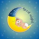 Bebé durmiente en la luna en el claro de luna Fotografía de archivo libre de regalías