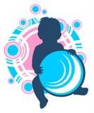 Bebê e esfera Fotos de Stock