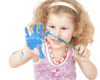 Bebê e pintura Imagens de Stock Royalty Free