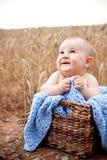 Bebé emocionado en cesta Fotos de archivo