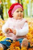 Bebé en hojas de otoño Imagen de archivo libre de regalías