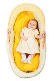 Bebé en la cuna, visión superior Fotografía de archivo libre de regalías