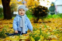 Bebé lindo entre las hojas caidas en parque del otoño Fotografía de archivo