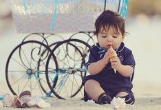 Bebê na praia Fotos de Stock