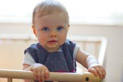 Bebê no playpen Fotografia de Stock
