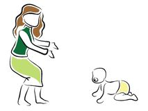 Bebê que aprende andar Imagens de Stock Royalty Free