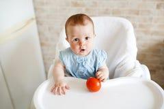 Beb? que come vegetais tomate vermelho na m?o da menina na cozinha ensolarada Nutri??o saud?vel para crian?as Petisco ou caf? da  imagem de stock