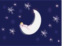 Bebé que duerme en la luna Imagen de archivo libre de regalías