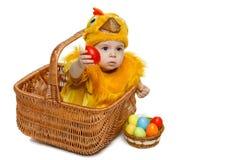 Bebé que se sienta en la cesta de Pascua en traje del pollo con los huevos de Pascua Imagenes de archivo