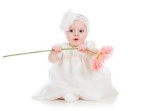 Bebé que sostiene el regalo de la flor Imagenes de archivo