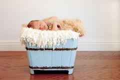 Bebé recién nacido en envase de madera azul claro Fotos de archivo