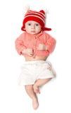 Bebé serio en un salto Fotos de archivo libres de regalías