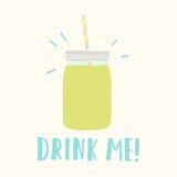 Beba-me Frasco de pedreiro com batido verde Fotografia de Stock Royalty Free