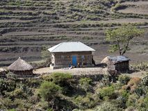 Bebautes Ackerland in der Berglandschaft, Äthiopien lizenzfreies stockfoto