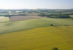 Bebautes Feld von oben Vogelperspektive von Wiesen und von bebauten Feldern Vogelansicht Lizenzfreies Stockbild