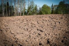 Bebautes landwirtschaftliches Feld, Frühlingsvorarbeit für das Säen und Pflanzen Lizenzfreies Stockbild