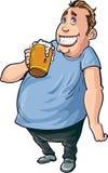 Bebedor de cerveza gordo de la historieta Imagen de archivo