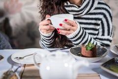 Bebendo um chá Fotografia de Stock