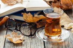 Beber do chá da queda imagem de stock