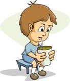 Beber do menino dos desenhos animados Imagens de Stock Royalty Free